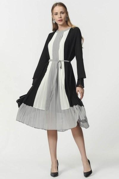 MIZALLE - Üç Renkli Pliseli Elbise (Siyah) (1)