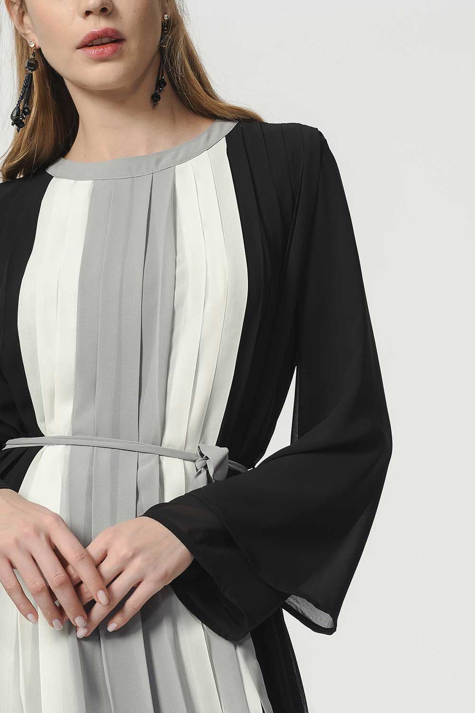 MIZALLE Üç Renkli Pliseli Elbise (Siyah) (1)