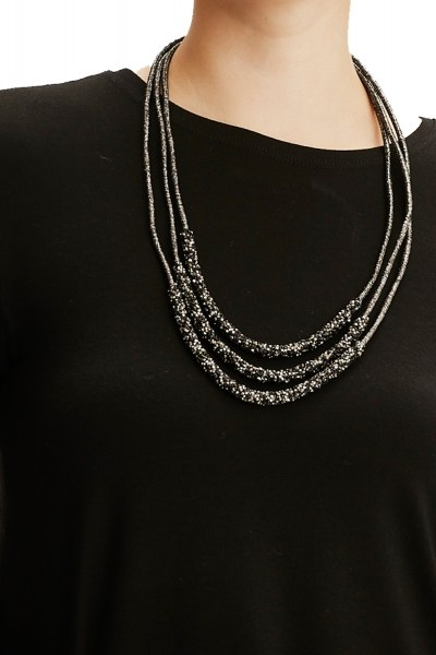 MIZALLE - قلادة بثلاث سلاسل مع حجر (أسود) (1)