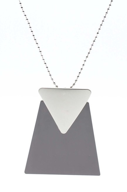 Triangle Detailed Necklace (Black) - Thumbnail