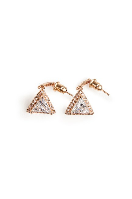 MIZALLE - Triangle Dangling Earrings (Gold) (1)