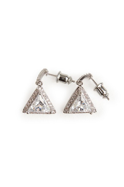 MIZALLE - Triangle Dangling Earrings (Silver) (1)