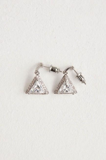MIZALLE Üçgen Taşlı Sallantılı Küpe (Silver)