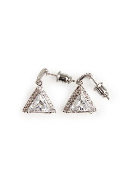 MIZALLE - Üçgen Taşlı Sallantılı Küpe (Silver) (1)