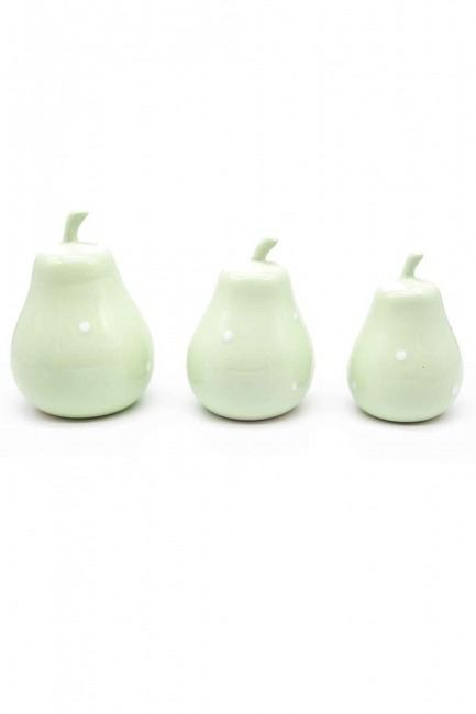 MIZALLE HOME - Triple Ceramic Pear Trinket (Green) (1)