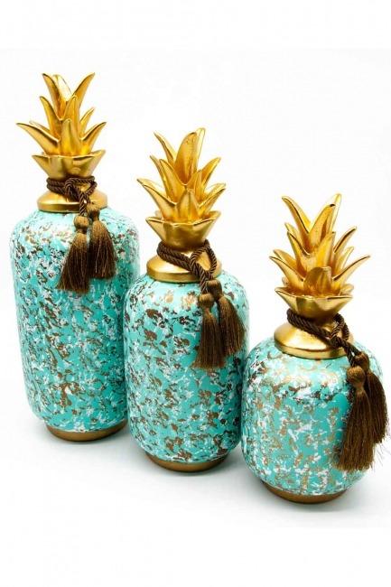 Mizalle Home - Üçlü Dekoratif Ananas Biblo (St)
