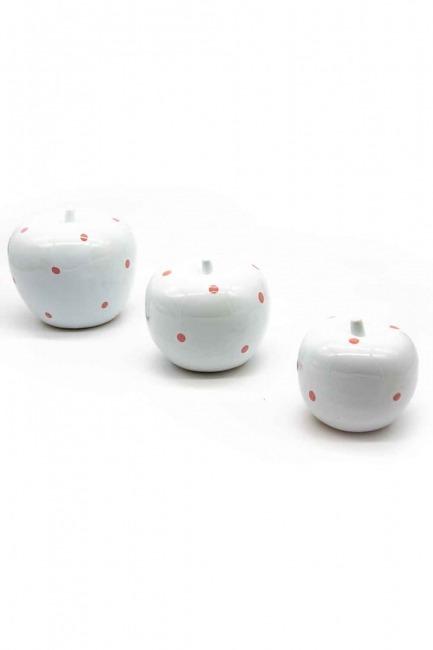 MIZALLE - Üçlü Elma Seramik Biblo (Beyaz) (1)