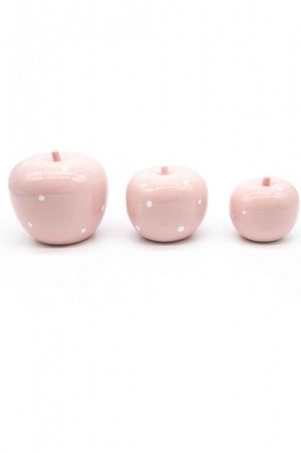 MIZALLE HOME - Üçlü Elma Seramik Biblo (Pembe) (1)