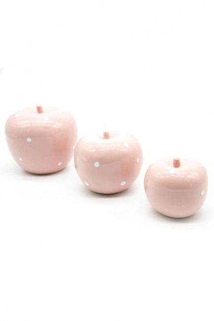 MIZALLE HOME Triple Ceramic Apple Trinket (Pink)