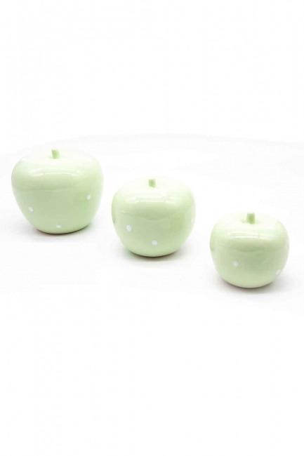 MIZALLE HOME Üçlü Elma Seramik Biblo (Yeşil)