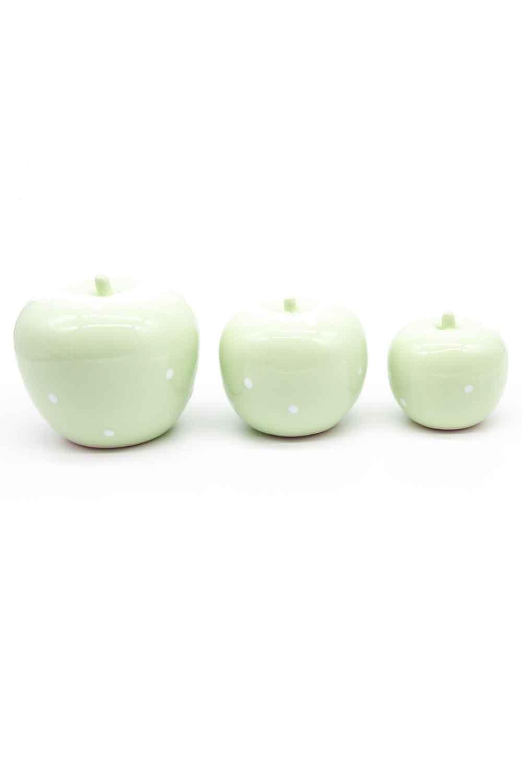 MIZALLE HOME Üçlü Elma Seramik Biblo (Yeşil) (1)
