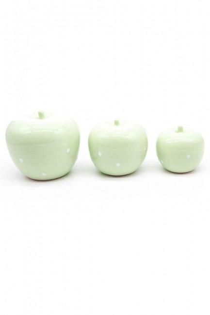 MIZALLE HOME - Üçlü Elma Seramik Biblo (Yeşil) (1)