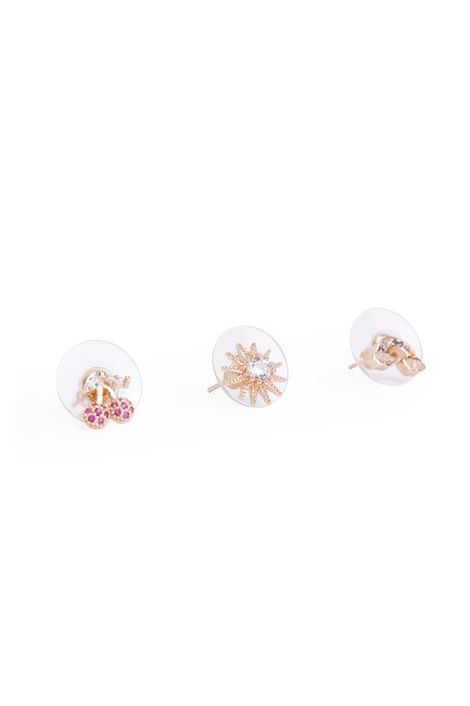MIZALLE - Triple Small Earrings (Yellow) (1)