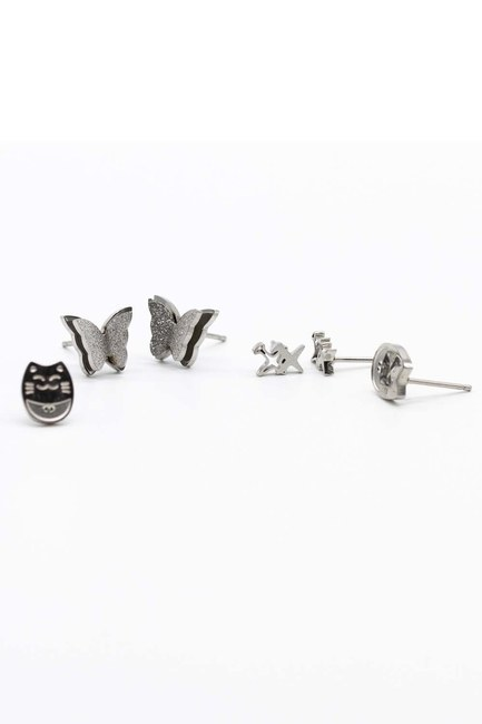 MIZALLE - Triple Earrings Set (1)