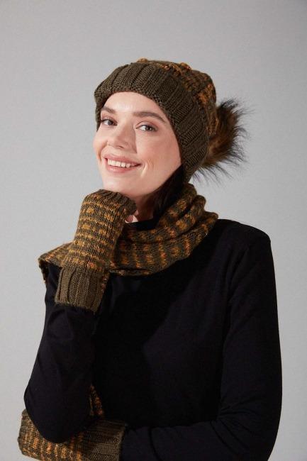 Mizalle - Üçlü Şapka Bere Eldiven Takımı (Haki)