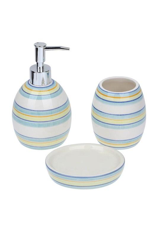 Üçlü Seramik Banyo Seti (Mavi)