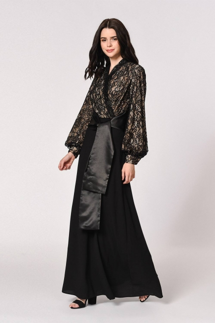 Üstü Dantelli Siyah Abiye Elbise - Thumbnail