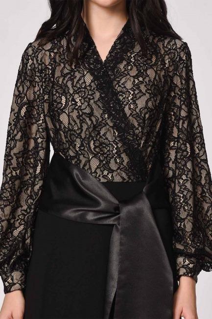 Üstü Dantelli Abiye Elbise (Siyah) - Thumbnail