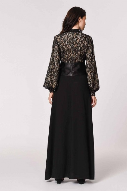 MIZALLE - Lace Detail Evening Dress (Black) (1)