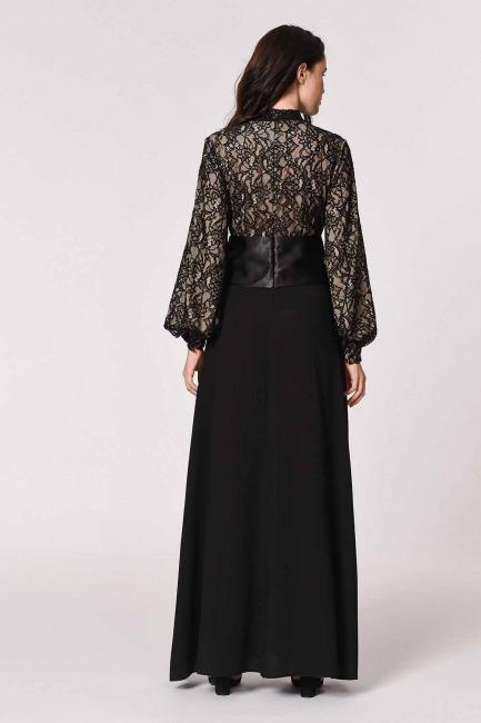 MIZALLE - Üstü Dantelli Abiye Elbise (Siyah) (1)
