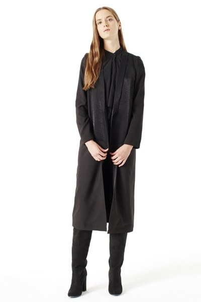 Mizalle - Uzun Ceket (Siyah)