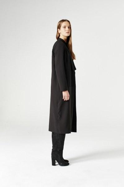 MIZALLE - جاكت طويل (أسود) (1)