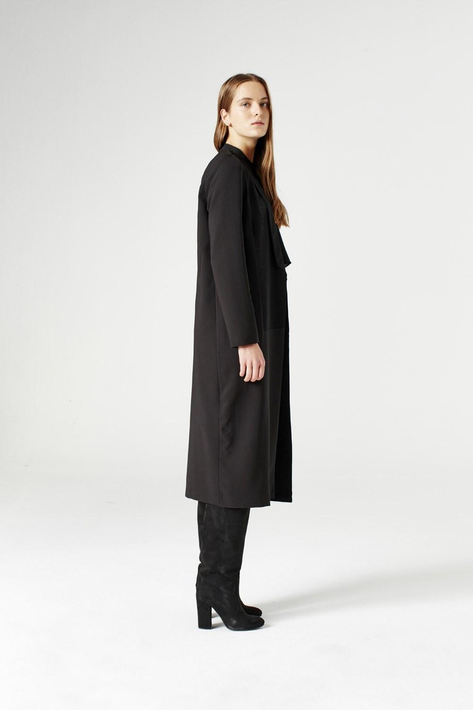 MIZALLE Uzun Ceket (Siyah) (1)