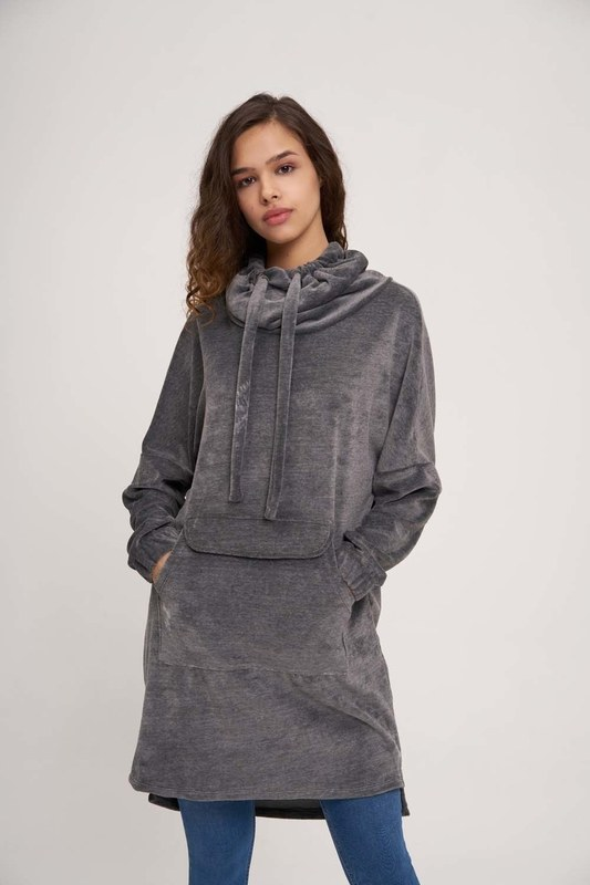 Uzun Kadife Sweatshirt (Antrasit)