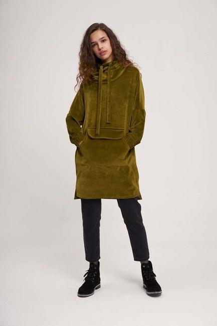 MIZALLE YOUTH - Uzun Kadife Sweatshirt (Haki) (1)