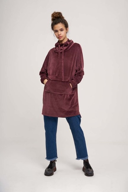MIZALLE YOUTH - Uzun Kadife Sweatshirt (Mürdüm) (1)