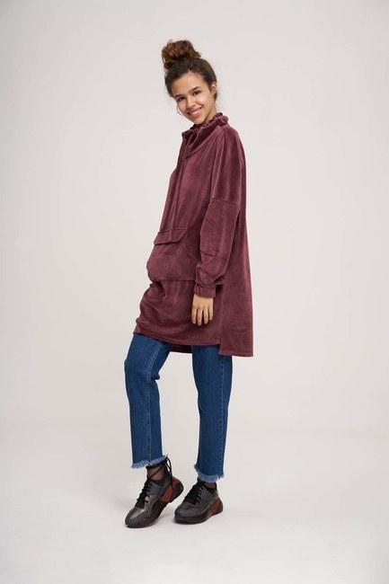 Uzun Kadife Sweatshirt (Mürdüm) - Thumbnail