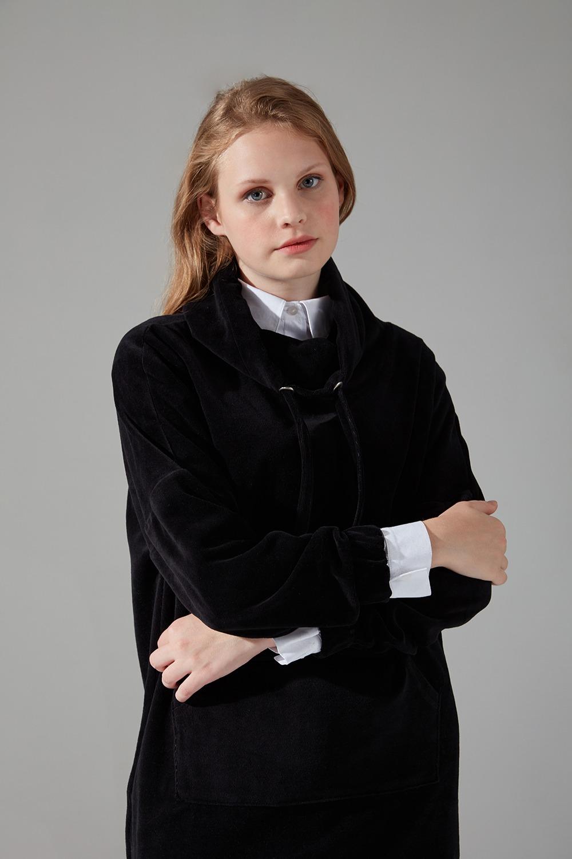 Uzun Kadife Siyah Sweatshirt