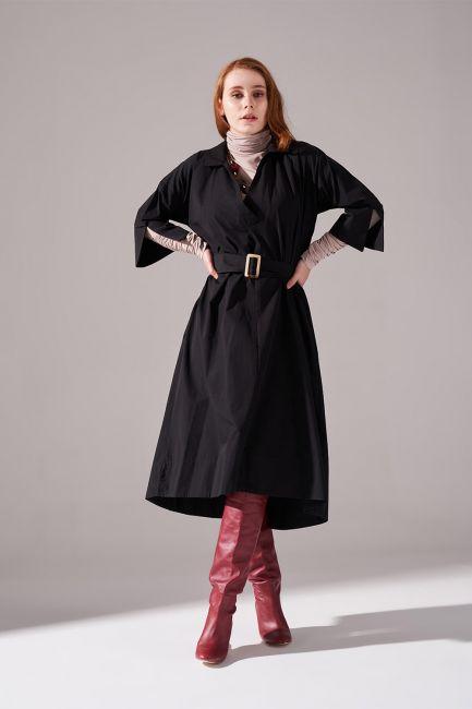 Mizalle - Uzun Kemer Tokalı Pamuk Siyah Elbise