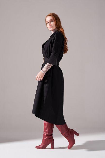 Uzun Kemer Tokalı Pamuk Elbise (Siyah) - Thumbnail