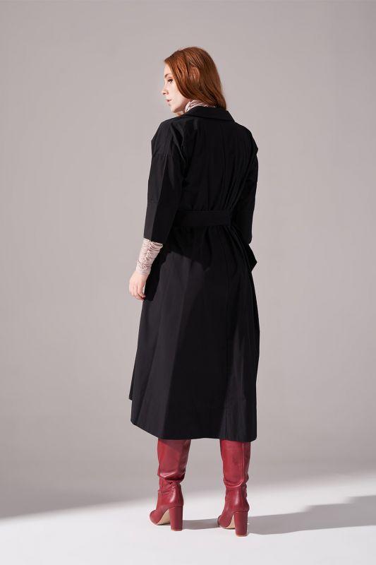 Uzun Kemer Tokalı Pamuk Elbise (Siyah)