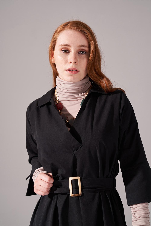 Uzun Kemer Tokalı Pamuk Siyah Elbise