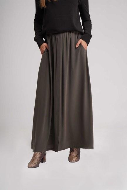 MIZALLE - تنورة طويلة مضيئة (الكاكي) (1)