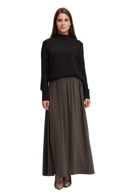 Long Flare Skirt (Khaki) - Thumbnail