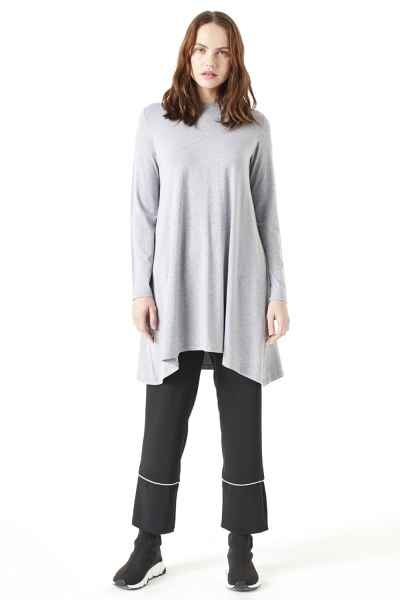 MIZALLE Long-Sleeved Basic Tunic (Grey)
