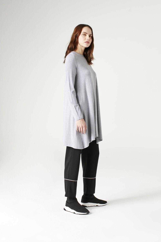 MIZALLE Long-Sleeved Basic Tunic (Grey) (1)