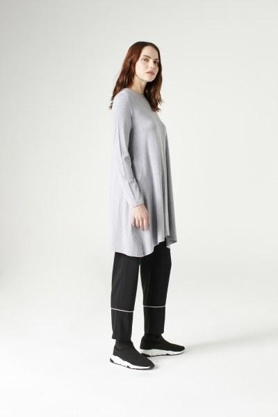 MIZALLE - Long-Sleeved Basic Tunic (Grey) (1)