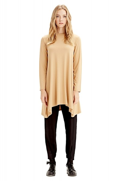 MIZALLE Long-Sleeved Basic Tunic (Mustard)