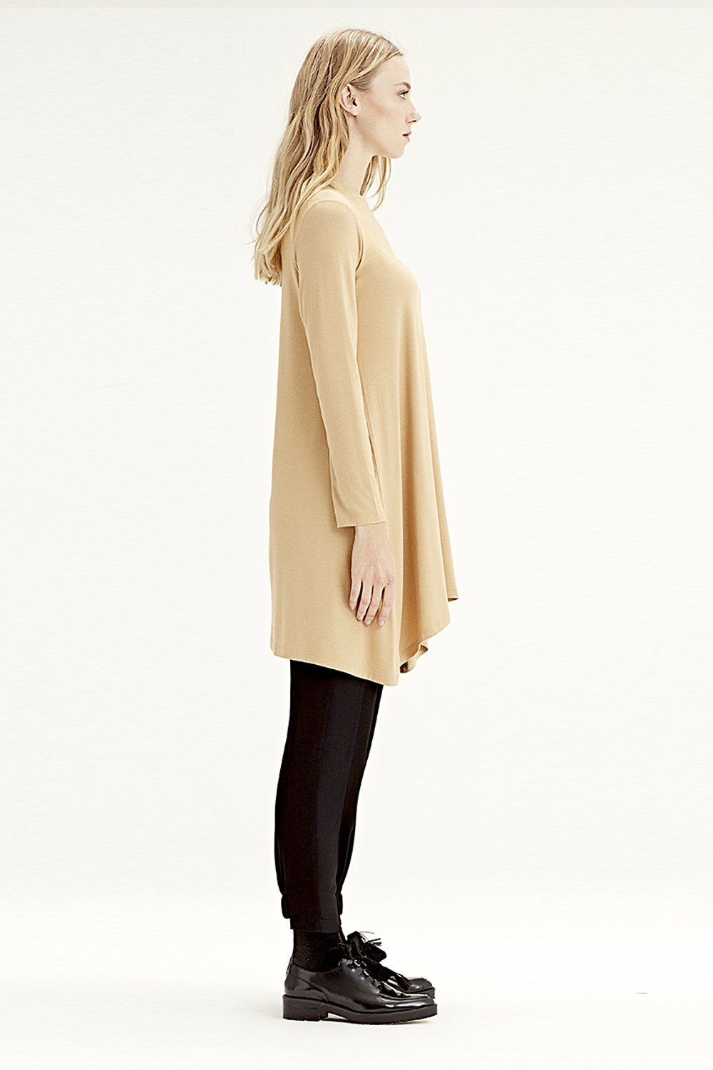 MIZALLE Long-Sleeved Basic Tunic (Mustard) (1)