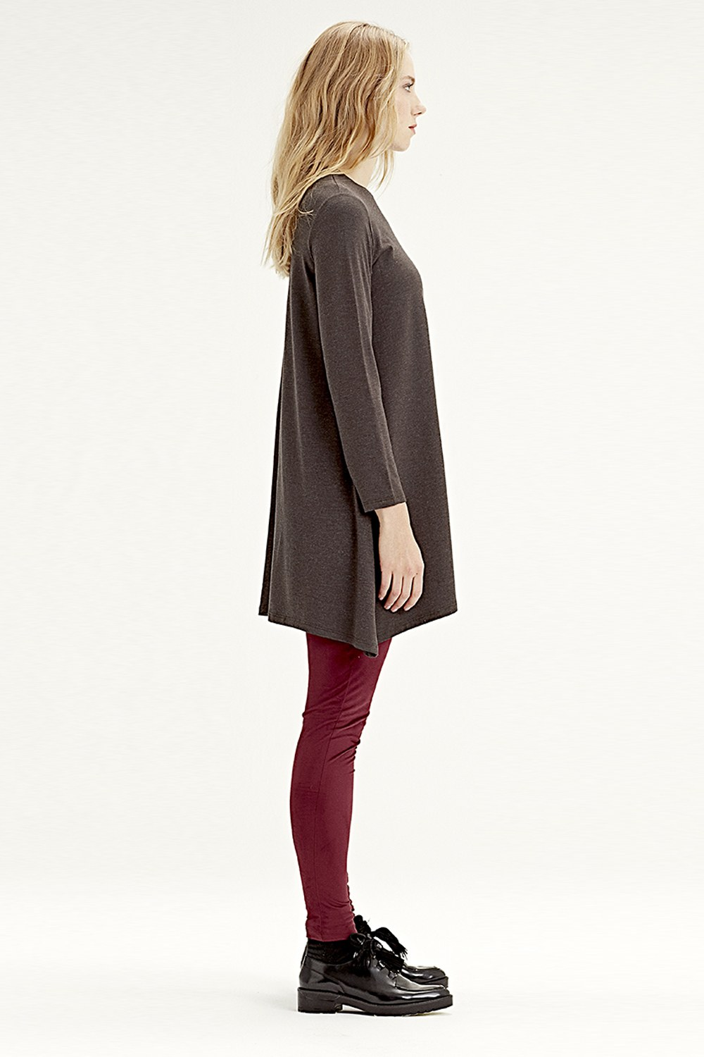 MIZALLE Long-Sleeved Basic Tunic (Brown) (1)