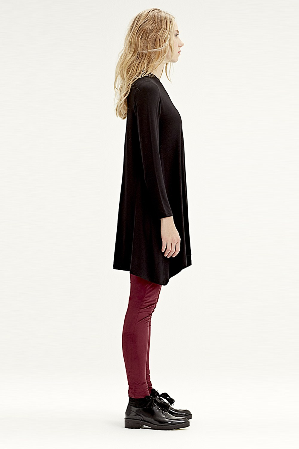 MIZALLE Long-Sleeved Basic Tunic (Black) (1)