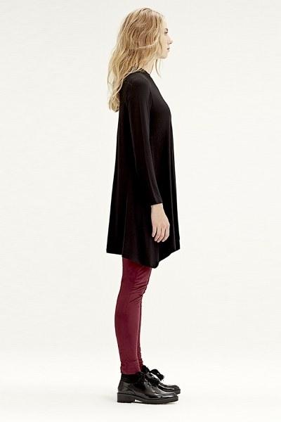 MIZALLE - Long-Sleeved Basic Tunic (Black) (1)