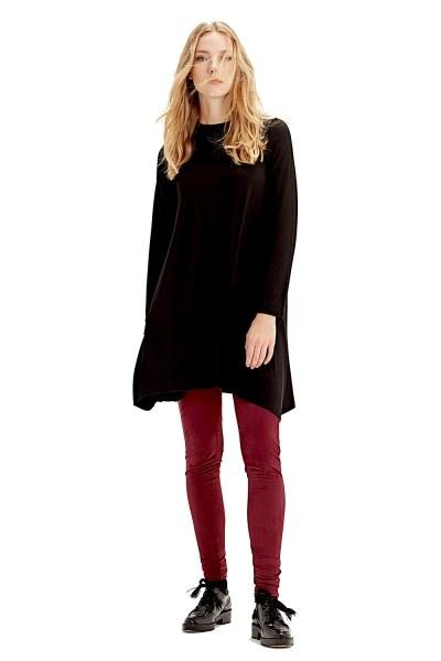 MIZALLE Uzun Kollu Basıc Tunik (Siyah)