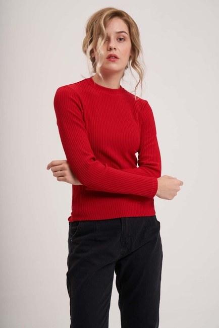 Uzun Kollu Ribana Bluz (Kırmızı) - Thumbnail