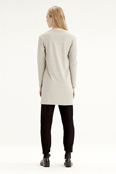MIZALLE - Long-Sleeved T-Shirt (Beige) (1)