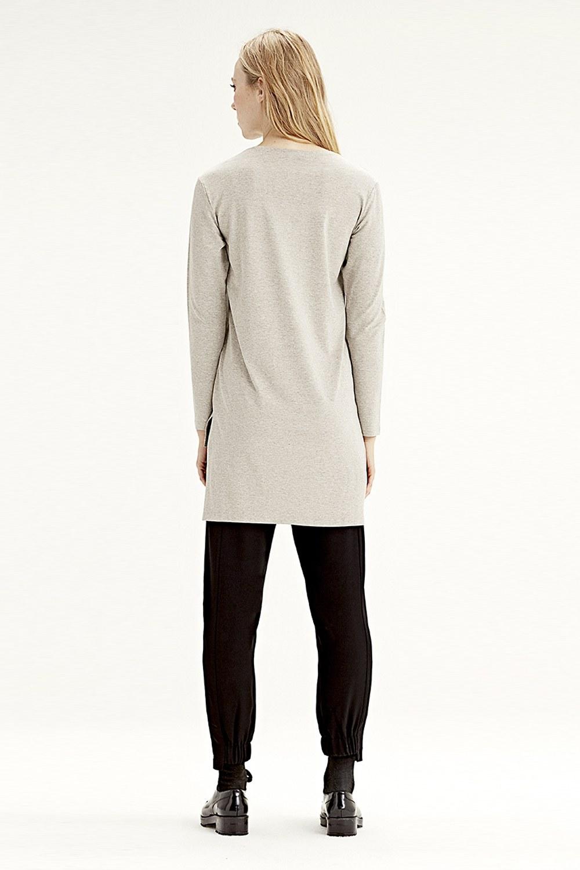 MIZALLE Uzun Kollu T-Shirt (Bej) (1)
